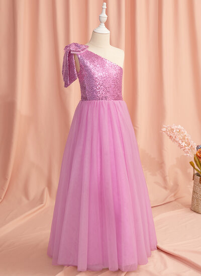 A-Line Floor-length Flower Girl Dress - Tulle/Sequined Sleeveless One-Shoulder With Bow(s)