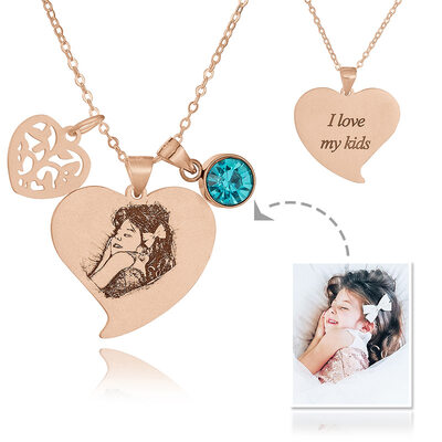 Custom 18k Rose Gold Plated Silver Heart Black And White Photo Engraved Heart Necklace Birthstone Necklace Engraved Necklace Photo Necklace With Birthstone Leaf - Birthday Gifts