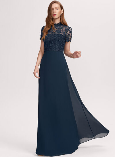 A-Line Scoop Neck Floor-Length Chiffon Evening Dress With Lace