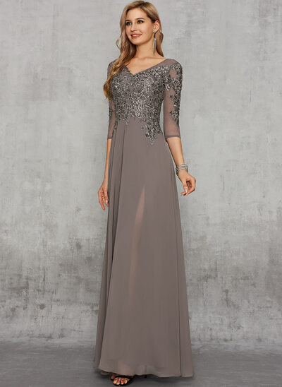 A-Line Floor-Length Chiffon Evening Dress With Lace Sequins