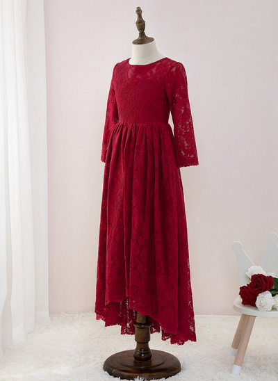A-Line Asymmetrical Flower Girl Dress - Lace Long Sleeves Scoop Neck