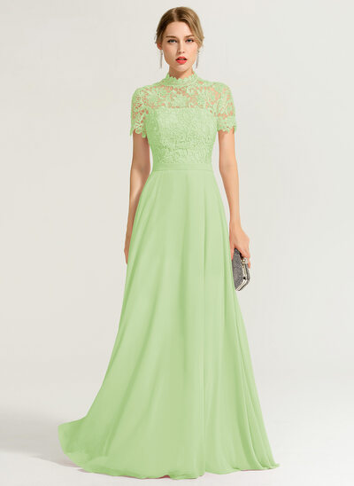 A-Line/Princess High Neck Floor-Length Chiffon Evening Dress