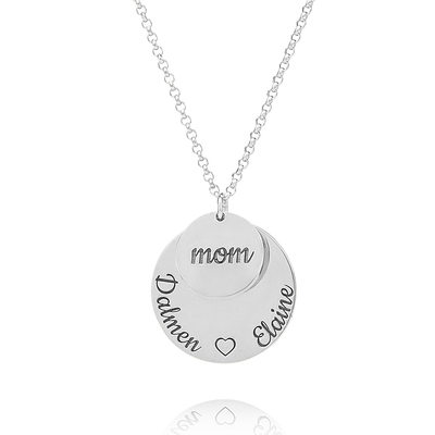 Christmas Gifts For Her - Custom Silver Engraving/Engraved Circle Family Layered Three Engraved Necklace Circle Necklace With Kids Names