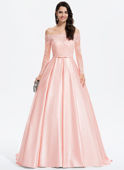 Duchesse-Linie/Princess Off-the-Schulter Sweep/Pinsel zug Satin Ballkleid mit Schleife(n)