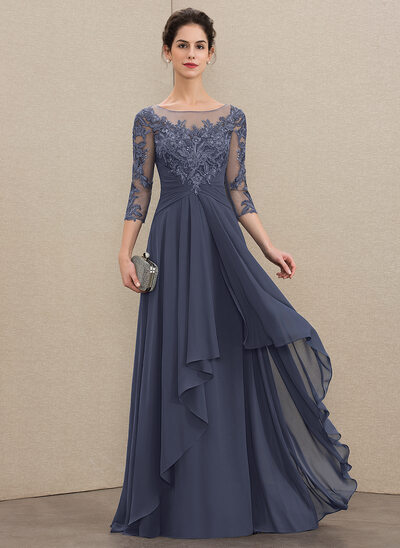 777867e15 A-Line Scoop Neck Floor-Length Chiffon Lace Mother of the Bride Dress With