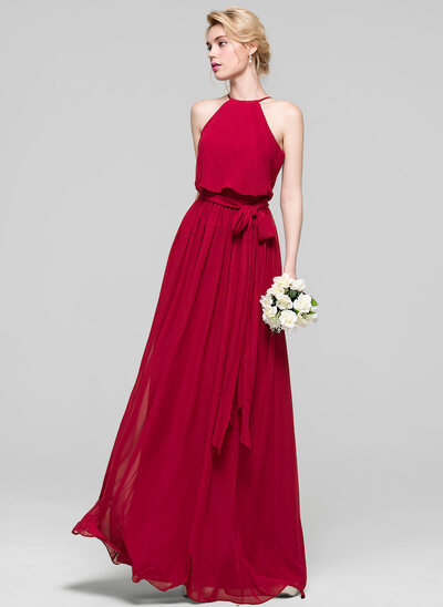 A-Line/Princess Scoop Neck Floor-Length Chiffon Prom Dress With Bow(s)