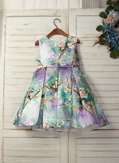 A-Line/Princess Knee-length Flower Girl Dress - Print Sleeveless Scoop Neck With Bow(s)