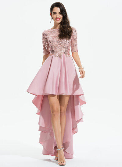 A-Line Scoop Neck Asymmetrical Satin Prom Dresses With Lace Sequins
