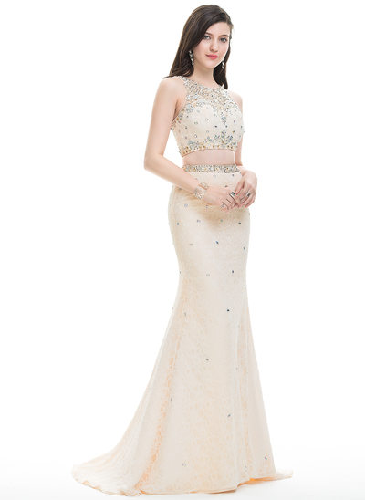Trumpet/Mermaid Scoop Neck Sweep Train Lace Prom Dresses With Beading Sequins