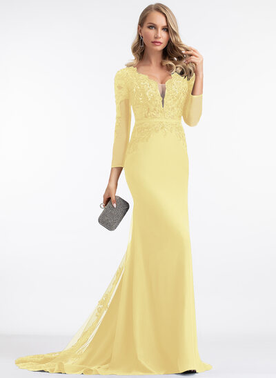 Trumpet/Mermaid V-neck Sweep Train Chiffon Prom Dresses With Beading