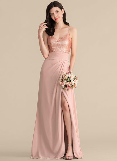 A-Line/Princess V-neck Floor-Length Chiffon Sequined Bridesmaid Dress With Ruffle Split Front