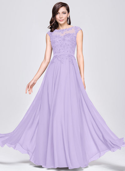 A-Line/Princess Scoop Neck Floor-Length Chiffon Evening Dress With Beading Appliques Lace Sequins