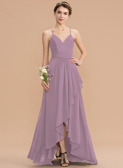 A-Line V-neck Asymmetrical Chiffon Lace Bridesmaid Dress With Cascading Ruffles