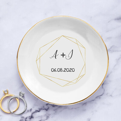 Bride Gifts - Personalized Beautiful Dreamlike Delicate Ceramics Ring Dish