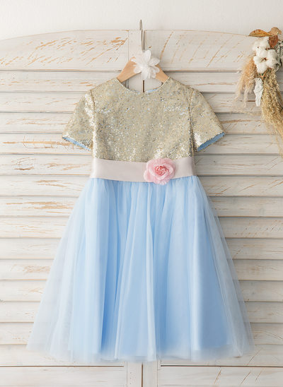 A-Line Knee-length Flower Girl Dress - Tulle/Sequined Short Sleeves Scoop Neck With Flower(s)