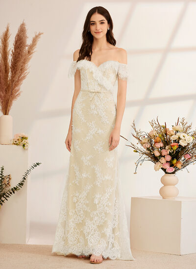 [Free Shipping]Trumpet/Mermaid Off-the-Shoulder Floor-Length Wedding Dress With Beading Sequins