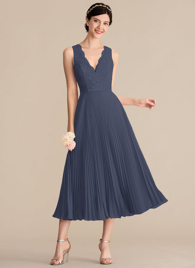 A-Line/Princess V-neck Tea-Length Chiffon Lace Bridesmaid Dress With Pleated