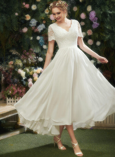 [Free Shipping]A-Line V-neck Asymmetrical Wedding Dress With Lace
