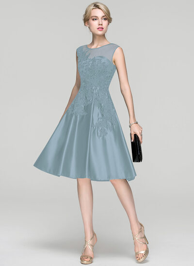 A-Line/Princess Scoop Neck Knee-Length Satin Cocktail Dress With Beading Sequins