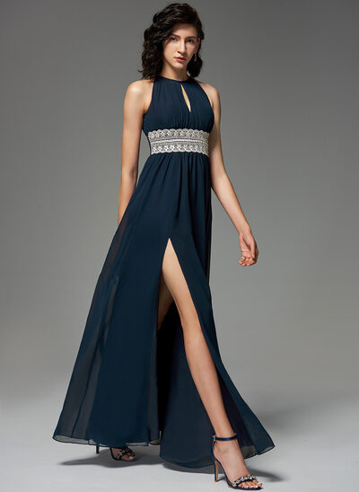 A-Line Scoop Neck Floor-Length Chiffon Evening Dress With Lace Beading Split Front