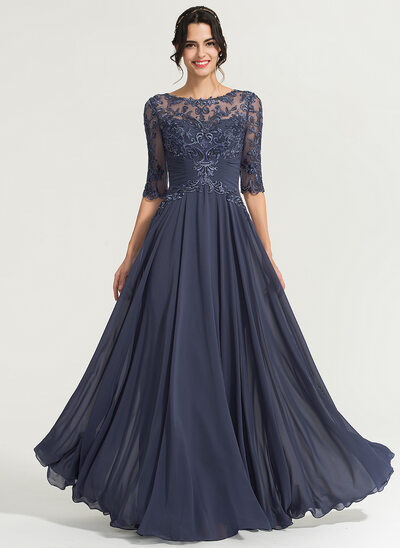 7f6b8ee378 A-Line Scoop Neck Floor-Length Chiffon Evening Dress With Sequins