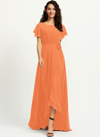 A-Line Scoop Neck Asymmetrical Bridesmaid Dress With Ruffle