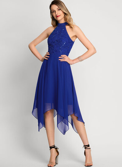 A-Line High Neck Asymmetrical Chiffon Cocktail Dress With Sequins