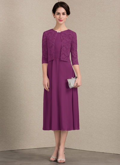 A-Line/Princess Scoop Neck Tea-Length Chiffon Mother of the Bride Dress With Ruffle