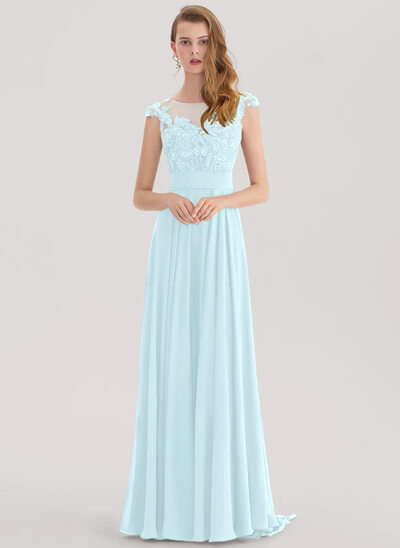 A-Line/Princess Scoop Neck Sweep Train Chiffon Prom Dresses With Lace Beading