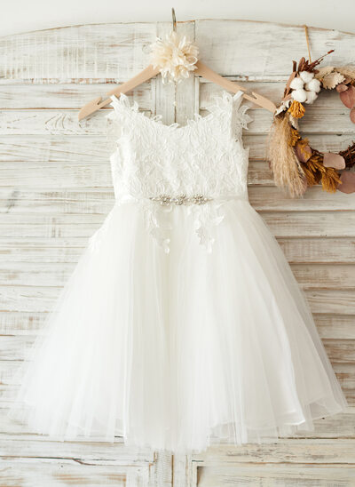A-Line Knee-length Flower Girl Dress - Tulle/Lace Sleeveless Straps With Sash/Rhinestone