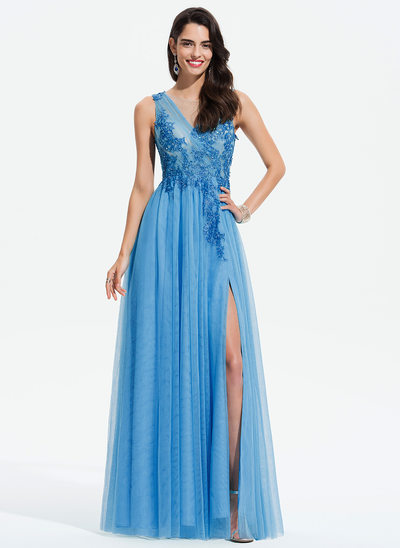 A-Line Scoop Neck Floor-Length Tulle Prom Dresses With Beading Split Front