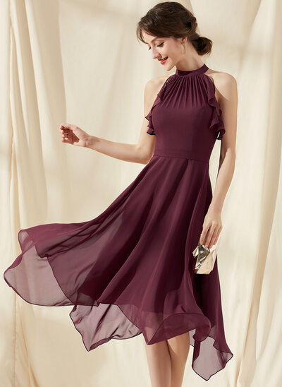 A-Line Scoop Neck Tea-Length Chiffon Homecoming Dress With Cascading Ruffles