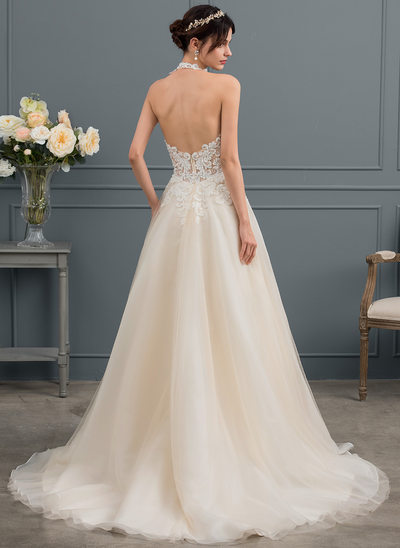 Ball Gown Halter Court Train Tulle Wedding Dress With Beading Sequins