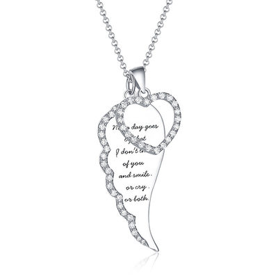 Personalized Ladies' Feather Design 925 Sterling Silver With Round Cubic Zirconia Engraved Necklaces Necklaces For Bride/For Mother