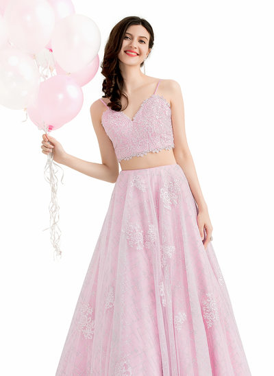 Ball-Gown V-neck Floor-Length Tulle Prom Dresses