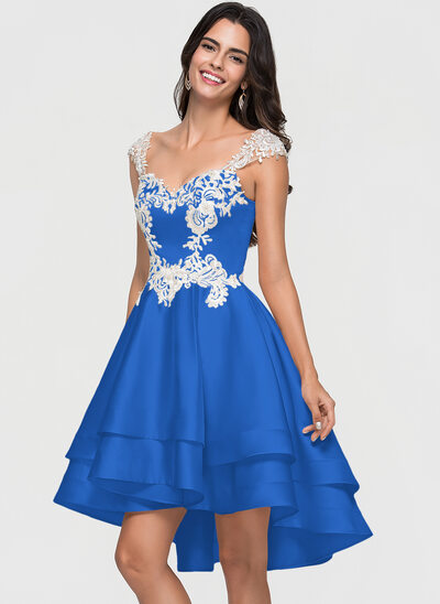 A-Line/Princess Sweetheart Asymmetrical Satin Homecoming Dress With Lace Beading Cascading Ruffles
