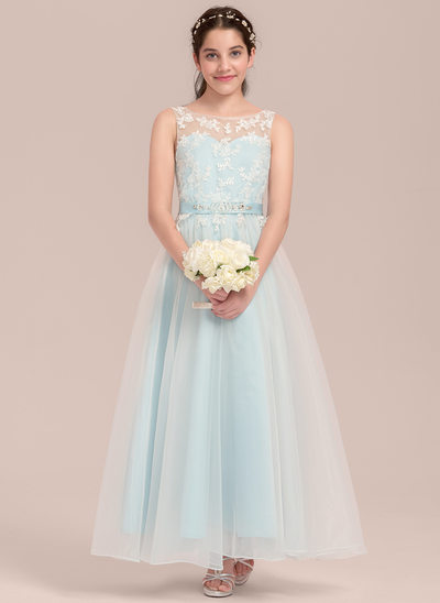 A-Line/Princess Scoop Neck Ankle-Length Organza Junior Bridesmaid Dress With Beading