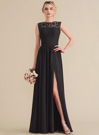 A-Line/Princess Scoop Neck Floor-Length Chiffon Lace Prom Dresses With Split Front