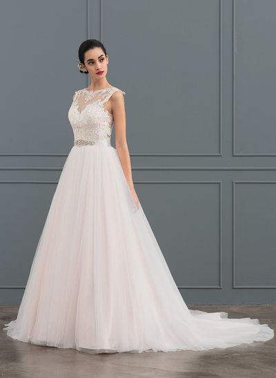 Ball-Gown Scoop Neck Court Train Tulle Lace Wedding Dress With Beading