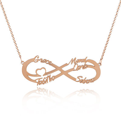Custom 18k Rose Gold Plated Silver Infinity Family Five Name Necklace Infinity Name Necklace With Heart - Valentines Gifts