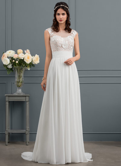 A-Line Illusion Sweep Train Chiffon Wedding Dress With Ruffle