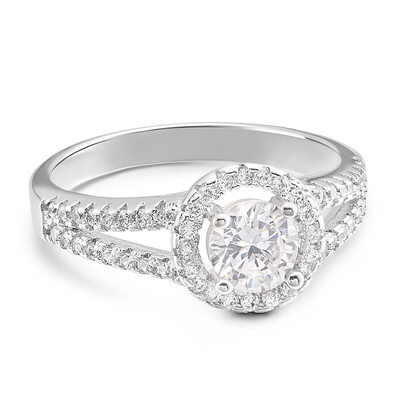 Sterling Silver Cubic Zirconia Split Shank Round Cut Engagement Rings Promise Rings -