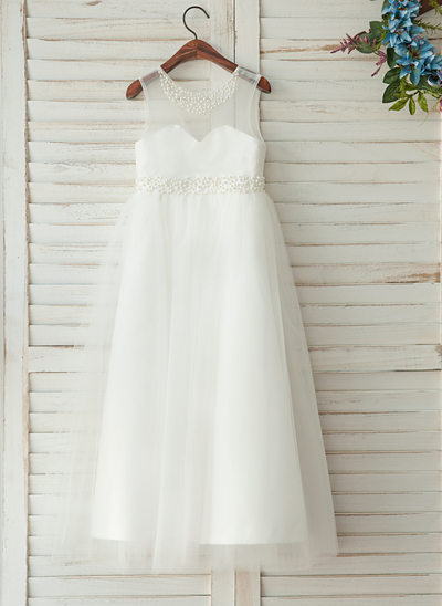 A-Line/Princess Floor-length Flower Girl Dress - Satin Sleeveless Scoop Neck With Beading