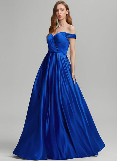A-Line Off-the-Shoulder Floor-Length Jersey Prom Dresses With Ruffle Pockets