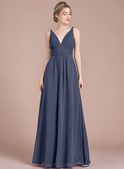 Empire V-neck Floor-Length Chiffon Prom Dresses With Ruffle