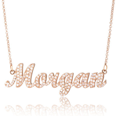 Custom 18k Rose Gold Plated Silver Name Necklace With Diamond