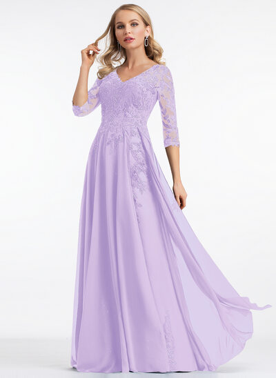 A-Line V-neck Floor-Length Chiffon Prom Dresses