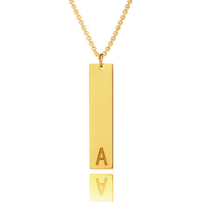Christmas Gifts For Her - Custom 18k Gold Plated Silver Letter Initial Necklace Bar Necklace
