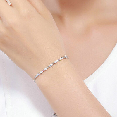Platinum Plated Delicate Chain Bridal Bracelets Bolo Bracelets - Valentines Gifts For Her