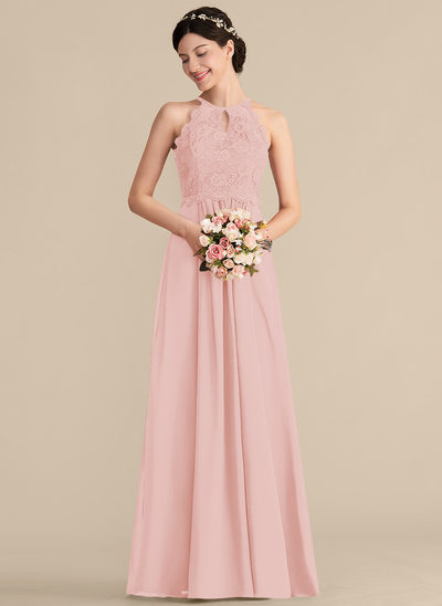 A-Line/Princess Scoop Neck Floor-Length Chiffon Lace Prom Dresses